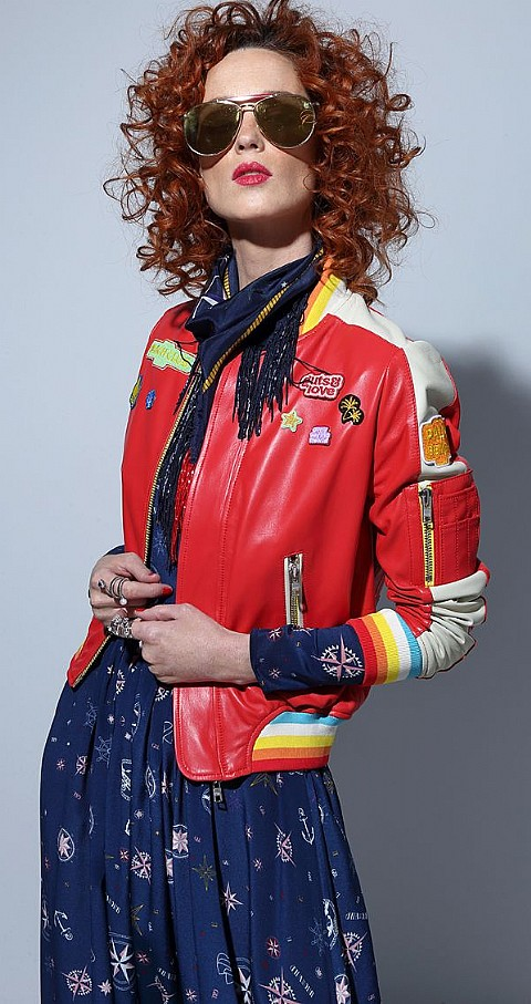 Bomber piel sweet wildness Color rojo - GUTS & LOVE