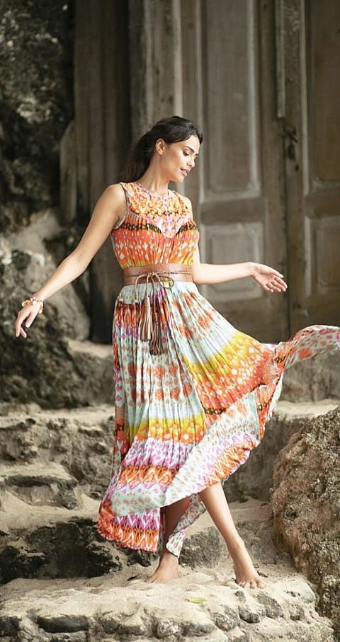 Vestido largo Rainbow Color colores - MISS JUNE