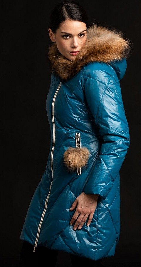 Parka petroleo capucha raccoon Color azul - GUS