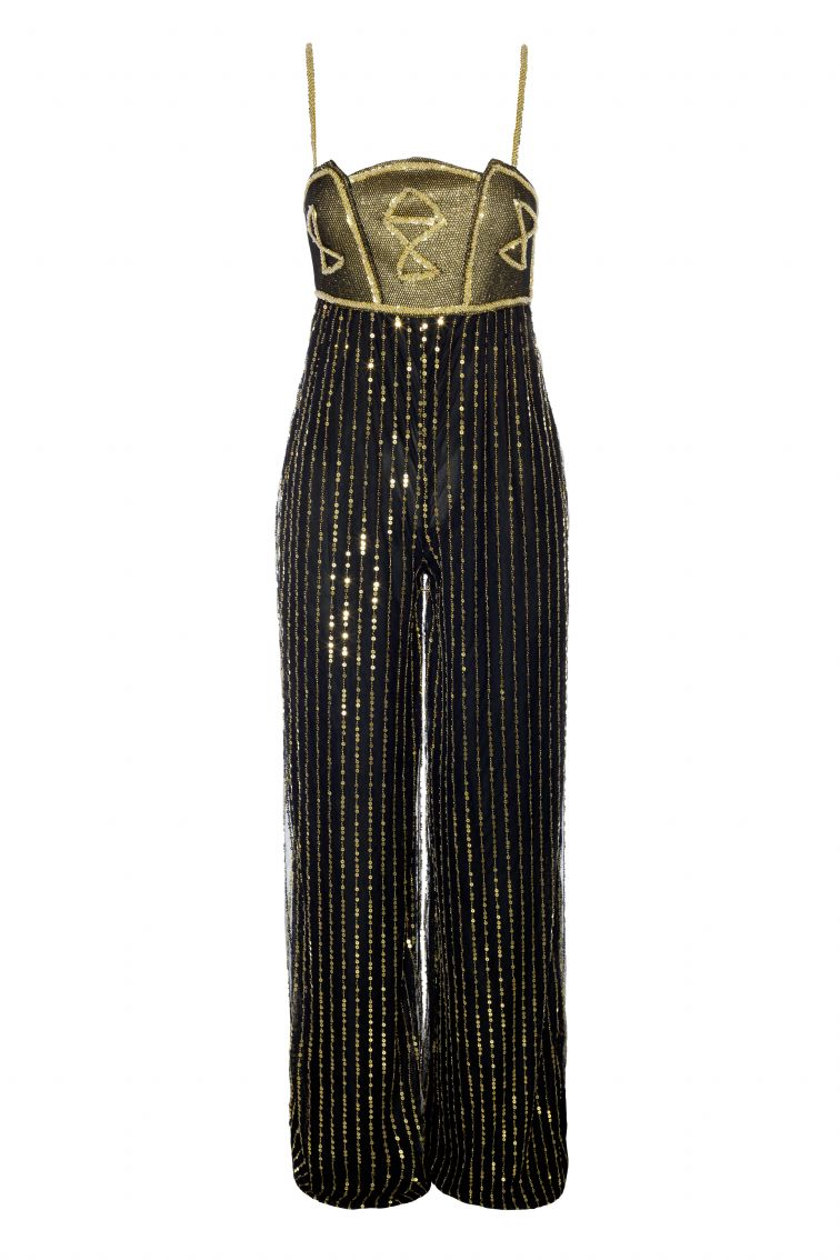 Jumpsuit gasa sequins Color negro