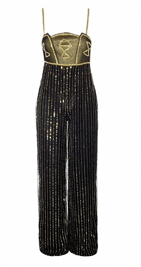 Jumpsuit gasa sequins Color negro - Highly Preppy