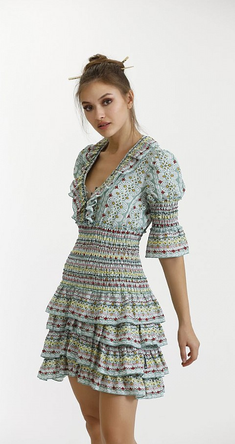 Vestido gasa gomas Color verde - Highly Preppy