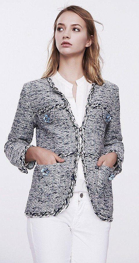 Chaqueta tipo chanel Anabel Color azul - THE EXTREME COLLECTION