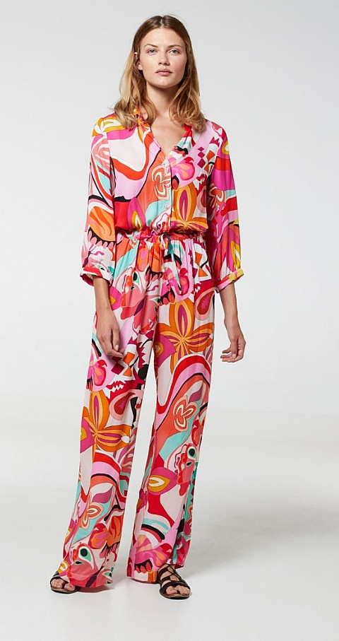 Jumpsuit flores Carei Color fucsia - Aldo Martins