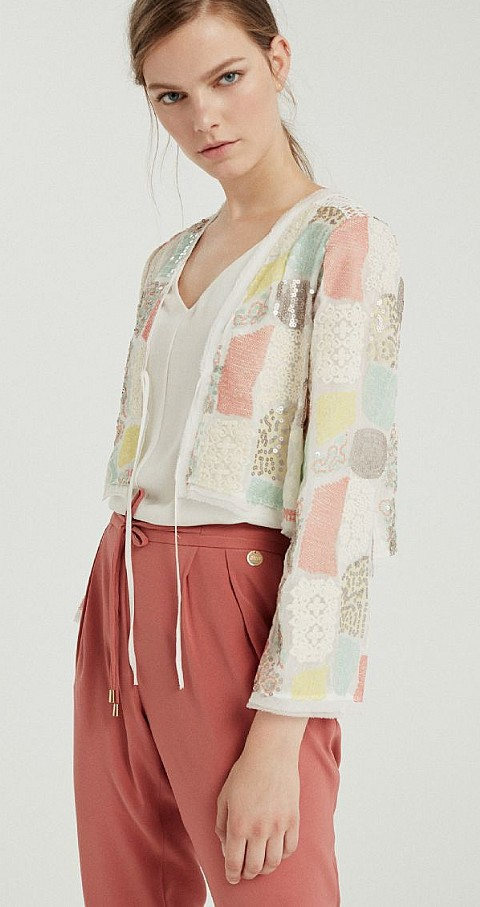 Chaqueta paillettes Color crudo - CIVIT