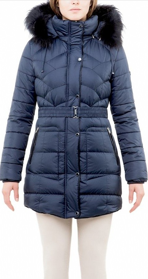 Parka larga vivo piel Color azul - ESKEY